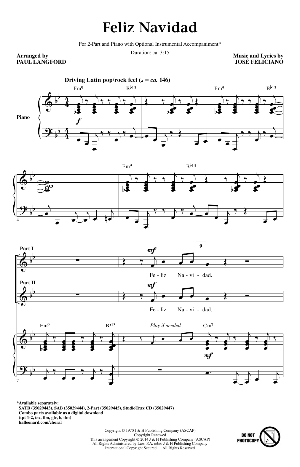 Feliz Navidad (arr. Paul Langford) (2-Part Choir)