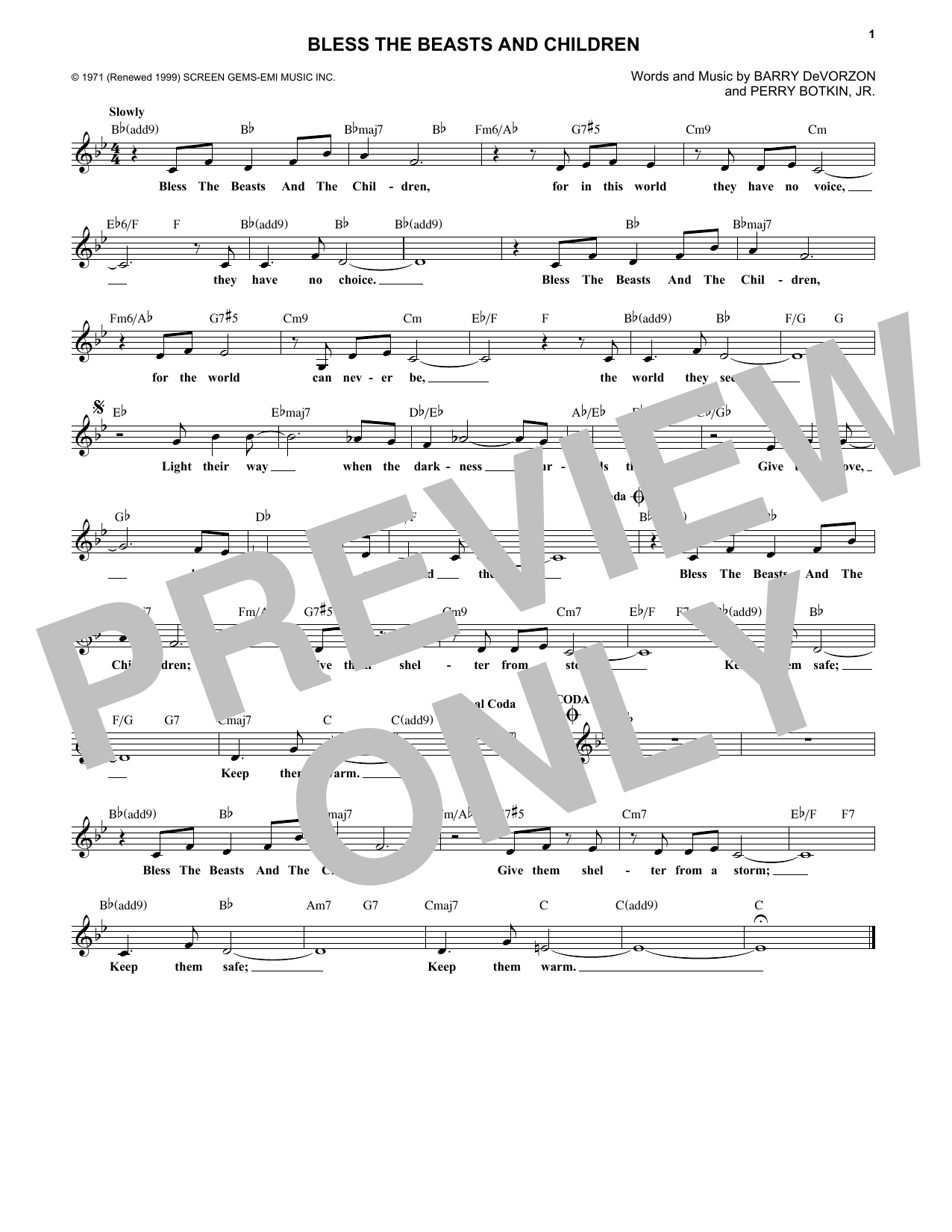 Bless The Beasts And Children (Lead Sheet / Fake Book)