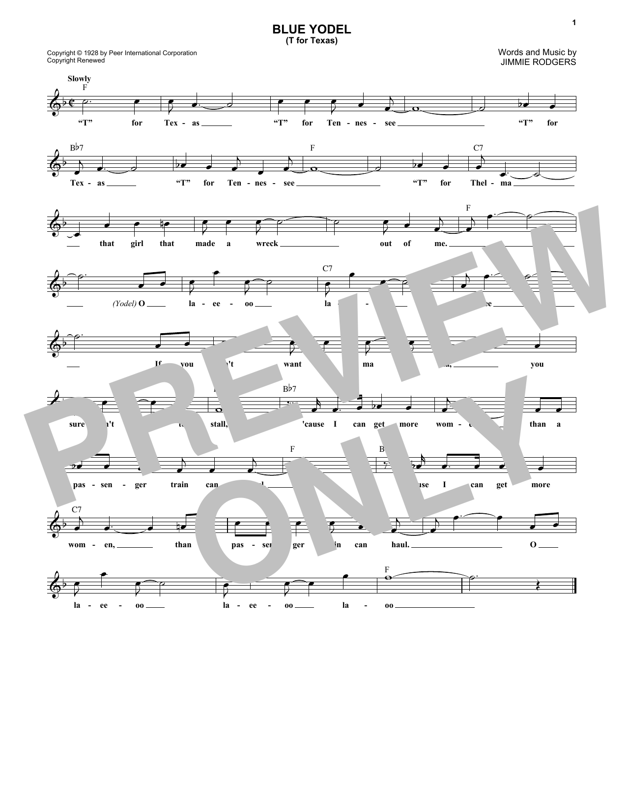 Blue Yodel No. 1 (T For Texas) (Lead Sheet / Fake Book)
