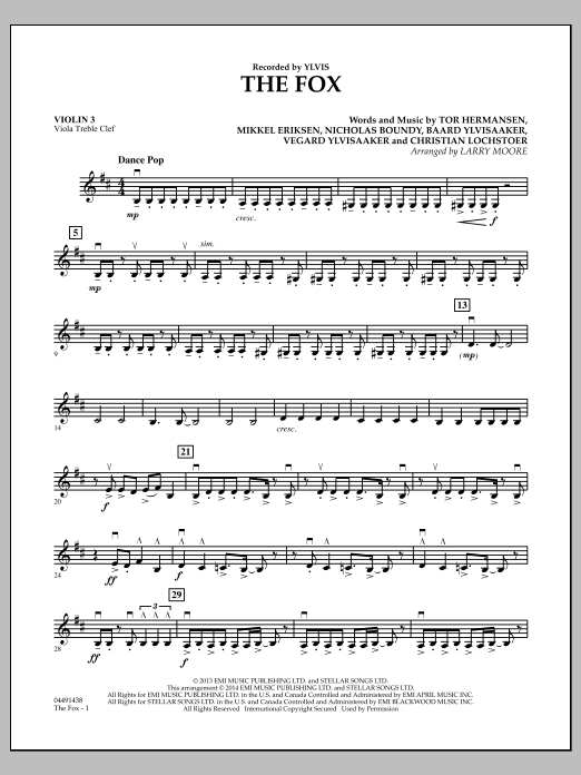The Fox (What Does the Fox Say?) - Violin 3 (Viola Treble Clef) (Orchestra)