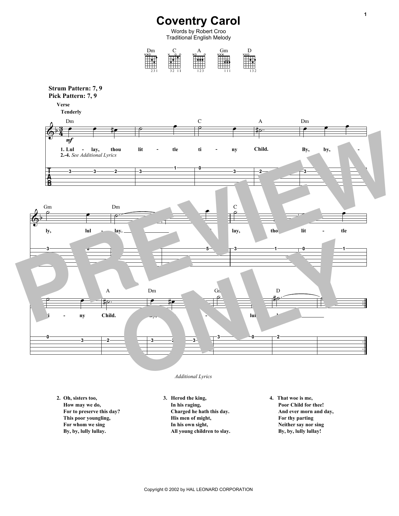 Coventry Carol (Easy Guitar Tab)