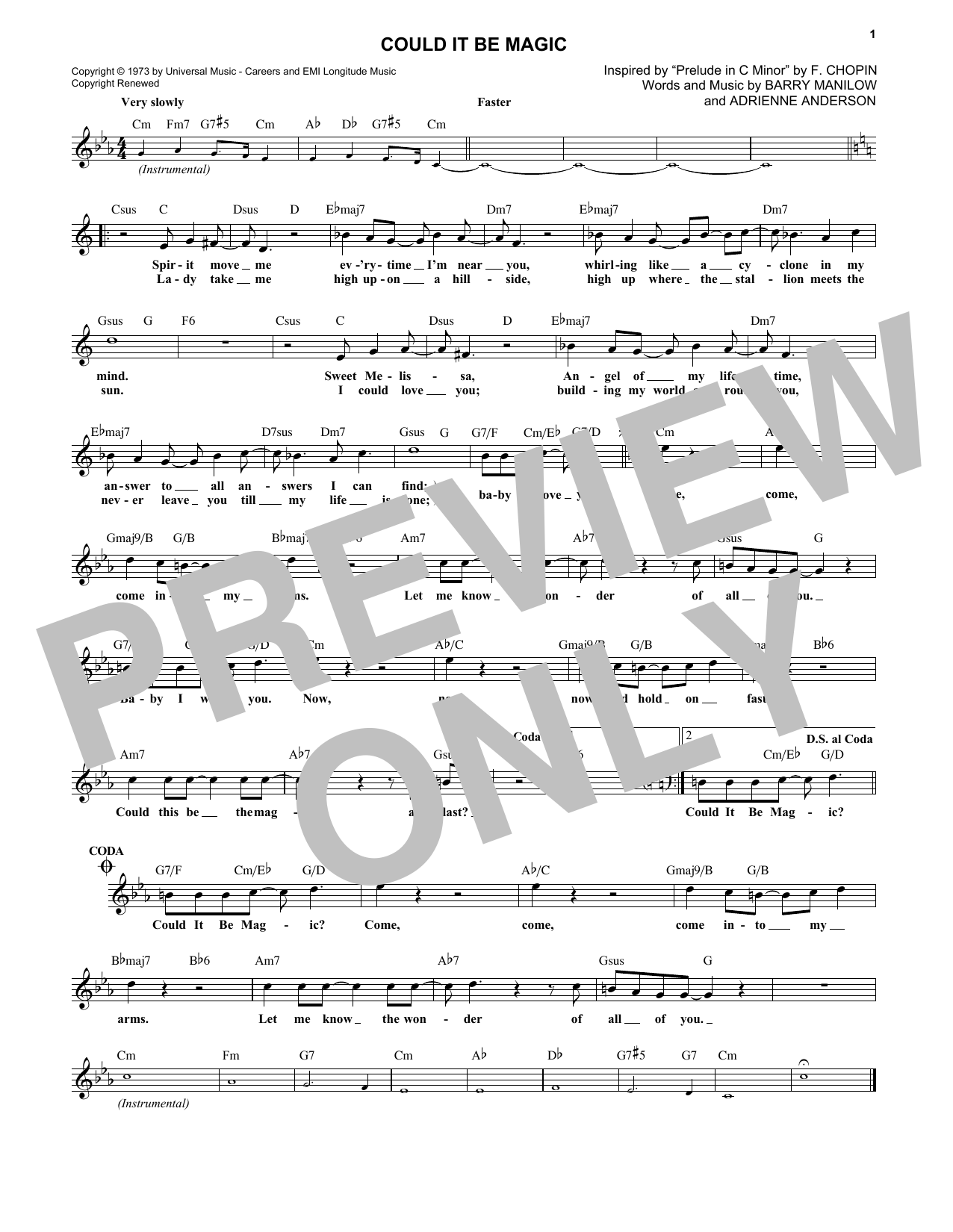 Could It Be Magic (Lead Sheet / Fake Book)