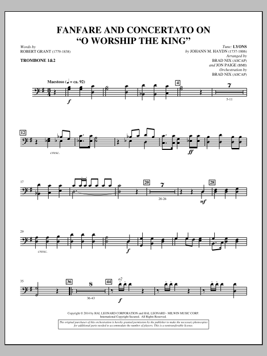 "Fanfare and Concertato on ""O Worship the King"" - Trombone 1 & 2 Sheet Music"