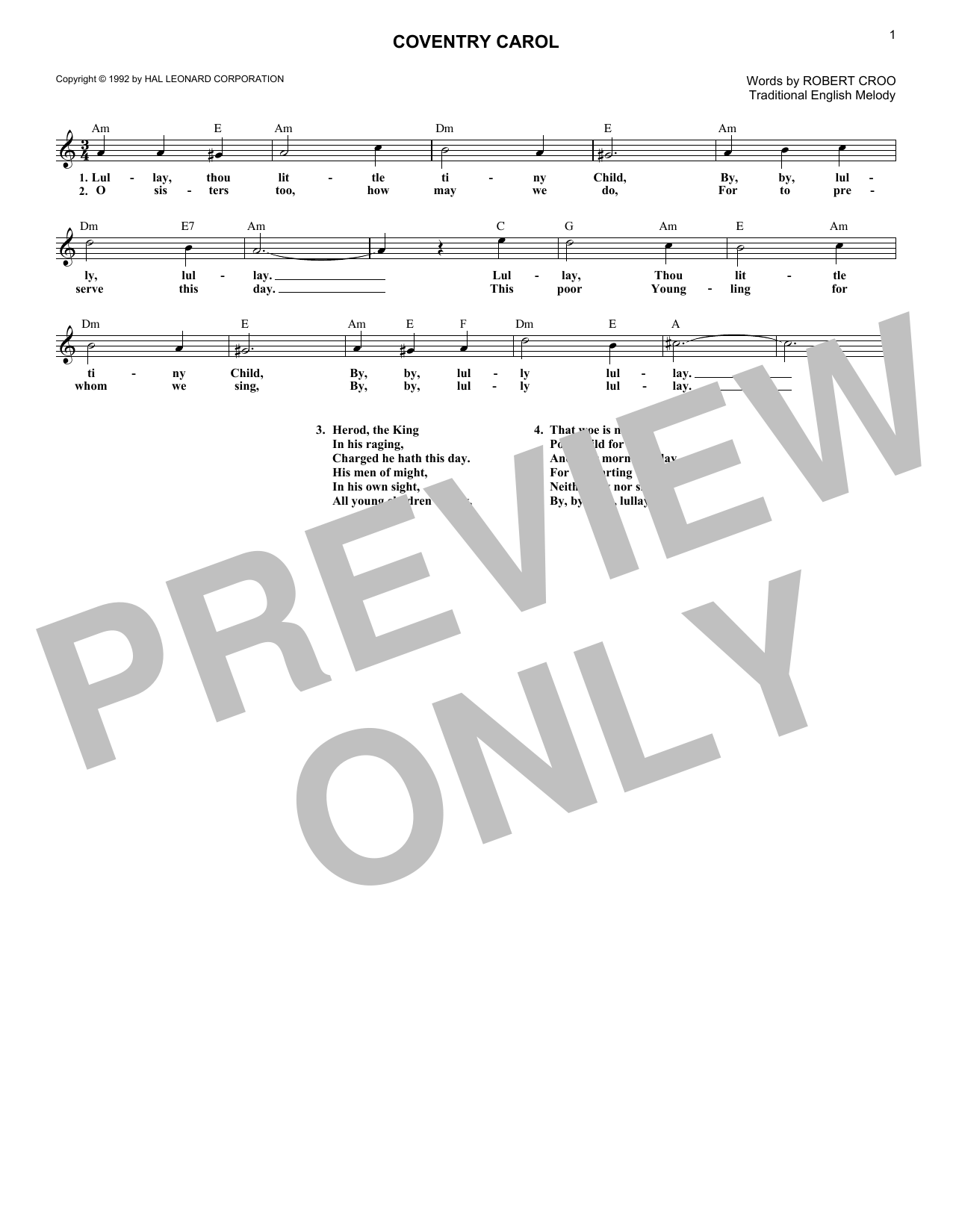 Coventry Carol (Lead Sheet / Fake Book)