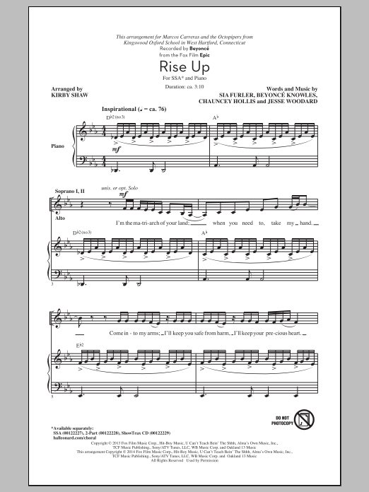 Rise Up (arr. Kirby Shaw) Sheet Music