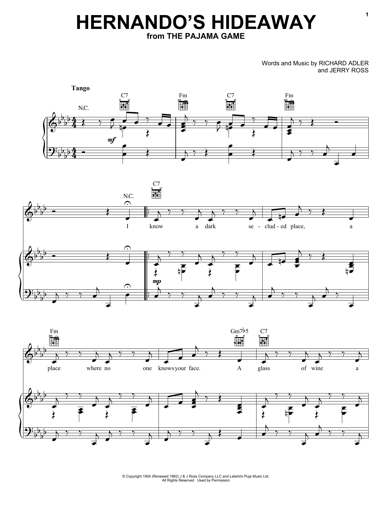 Hernando's Hideaway (Piano, Vocal & Guitar (Right-Hand Melody))