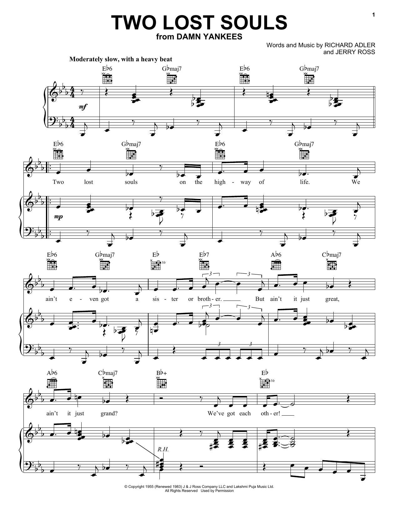 Two Lost Souls (Piano, Vocal & Guitar (Right-Hand Melody))