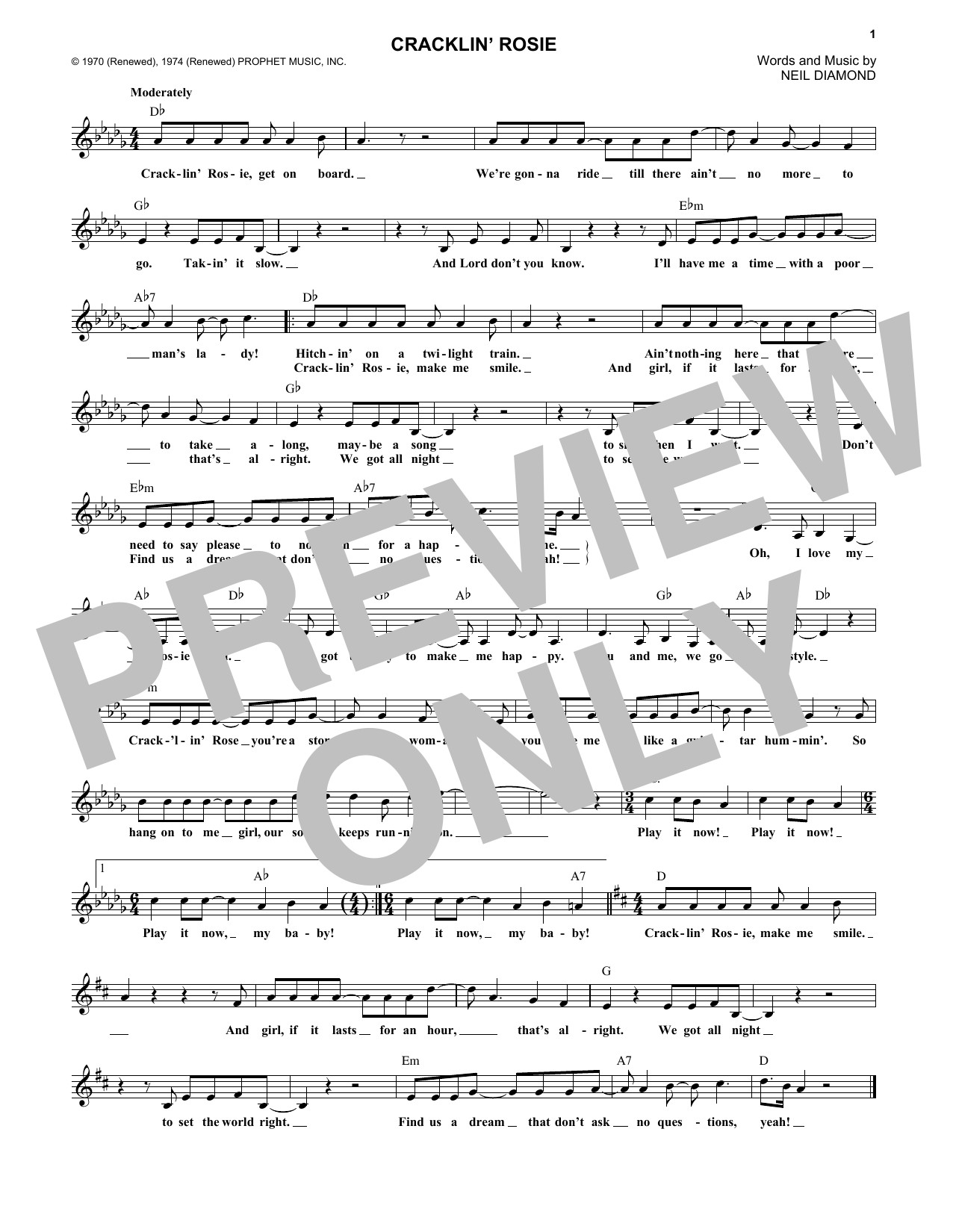 Cracklin' Rosie Sheet Music