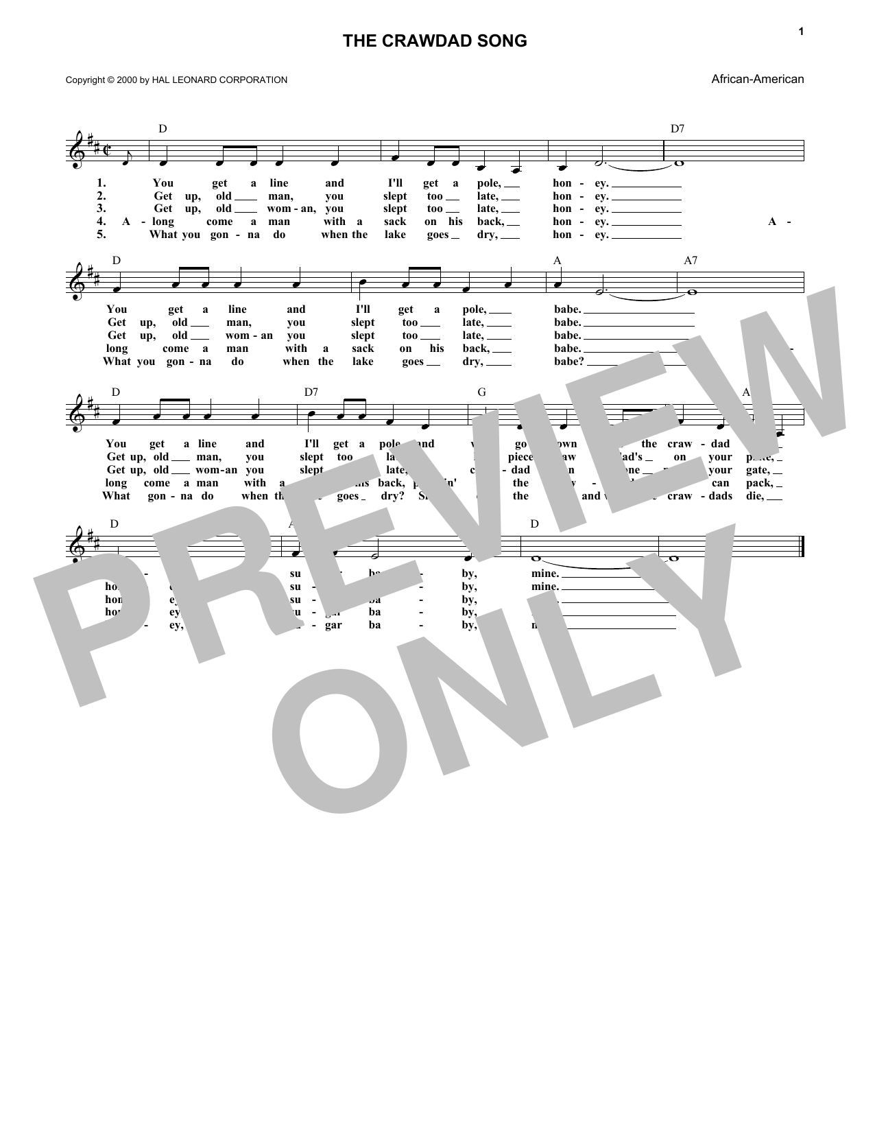The Crawdad Song Print Sheet Music Now