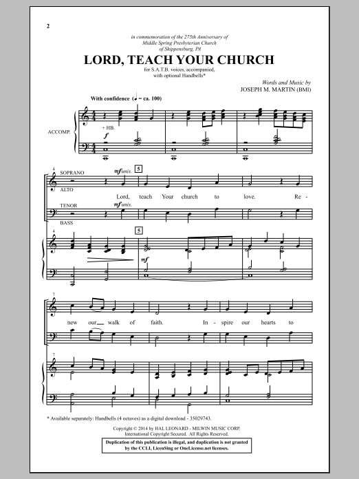 Partition chorale Lord, Teach Your Church de Joseph M. Martin - SATB