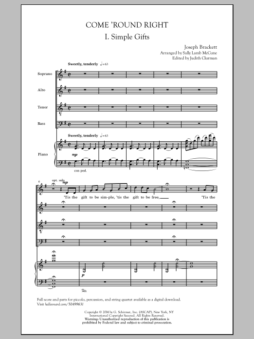 Partition chorale Come 'Round Right (arr. Sally Lamb McCune) de Joseph Brackett - SATB