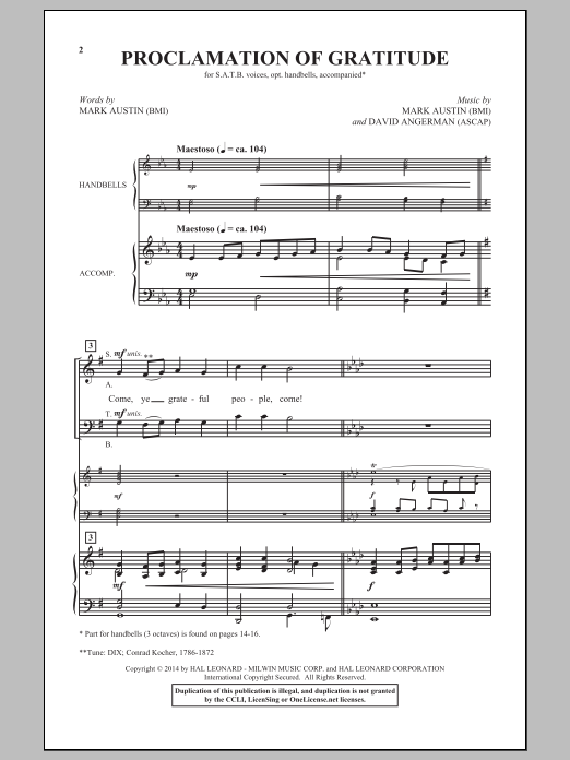 Proclamation Of Gratitude Sheet Music
