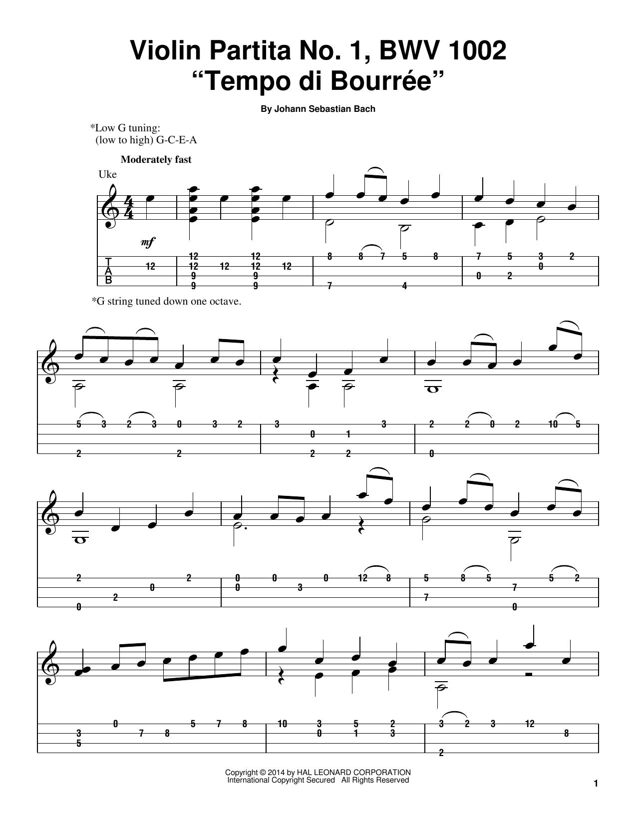 Tempo Di Bourree, BWV 1002 (Ukulele)