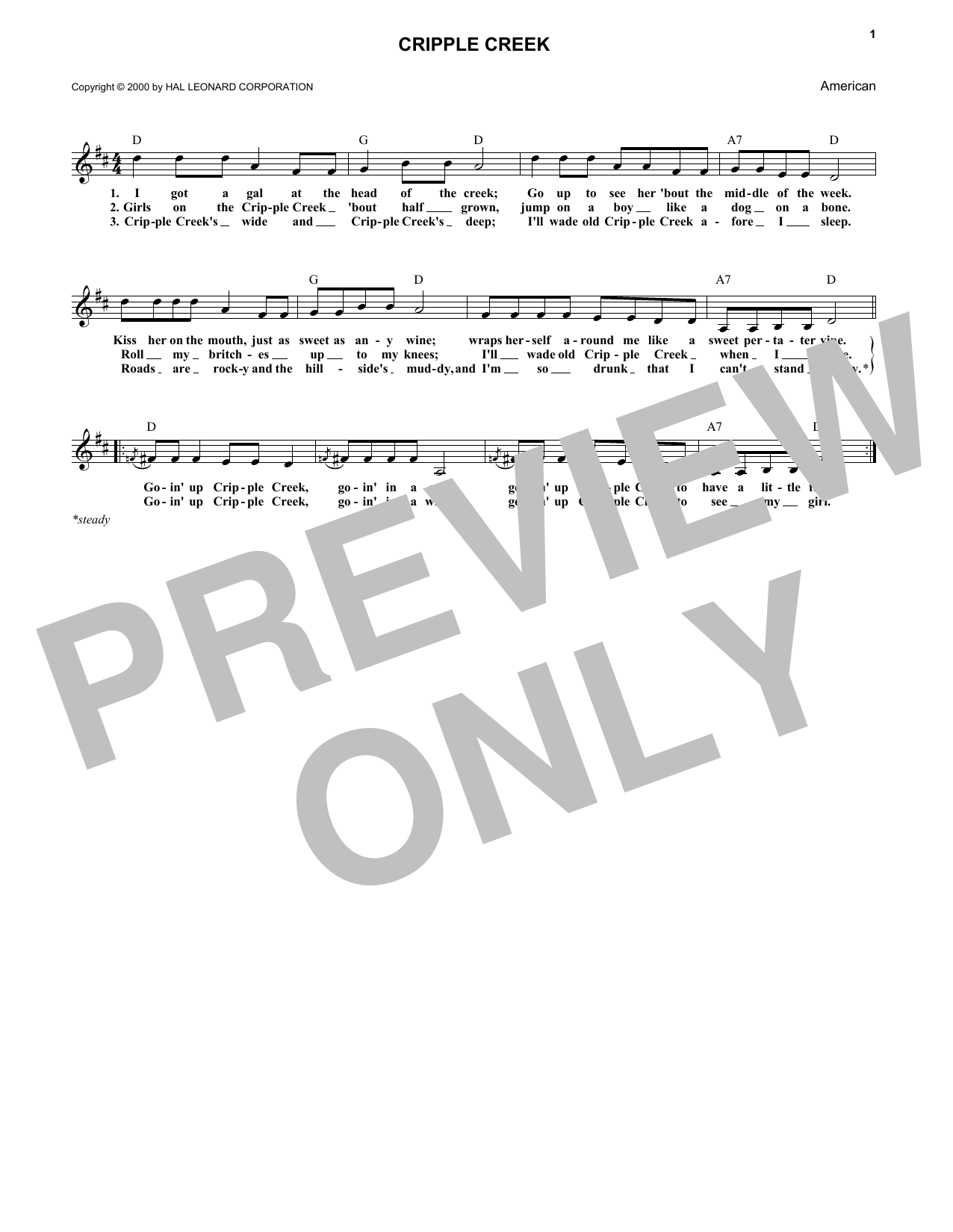 Cripple Creek (Lead Sheet / Fake Book)