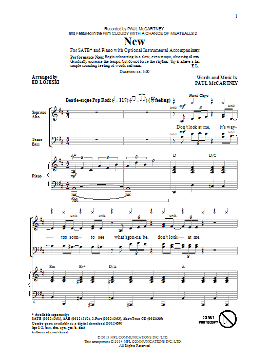 Partition chorale New (arr. Ed Lojeski) de Paul McCartney - SATB