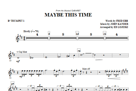 Maybe This Time (complete set of parts) sheet music for orchestra/band by Ed Lojeski, Fred Ebb, Glee Cast and John Kander. Score Image Preview.