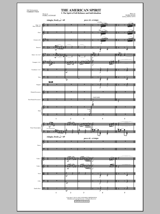 The American Spirit (COMPLETE) sheet music for orchestra/band by Mark Hayes. Score Image Preview.