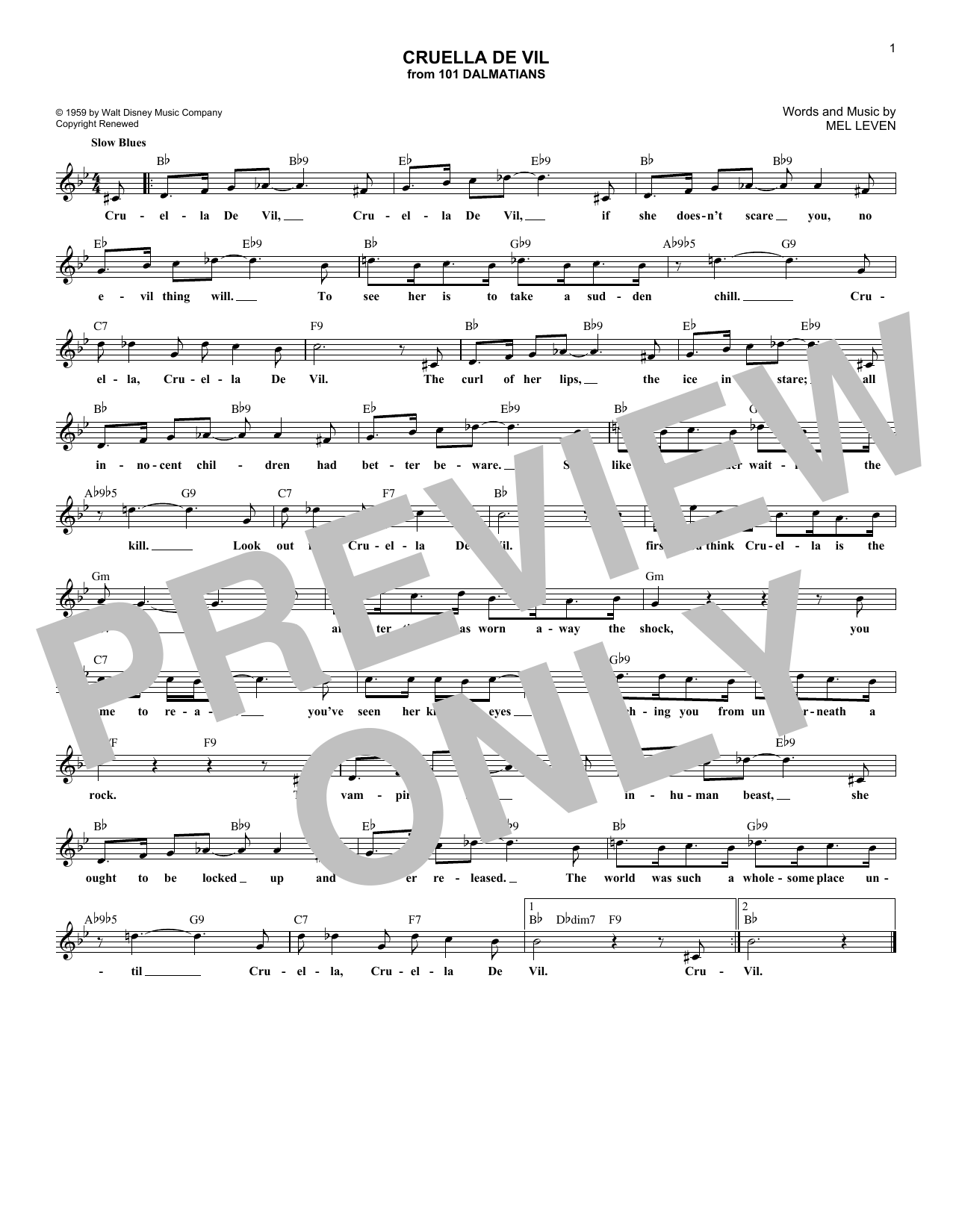 Cruella De Vil (Lead Sheet / Fake Book)