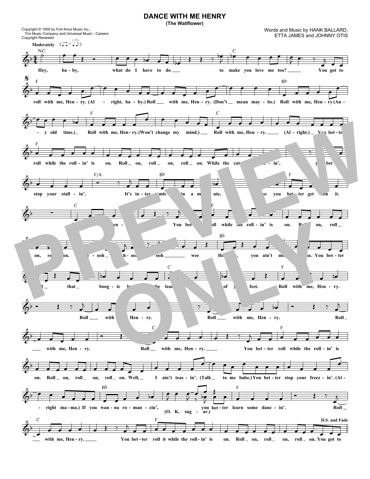 Dance With Me Henry (The Wallflower) (Lead Sheet / Fake Book)