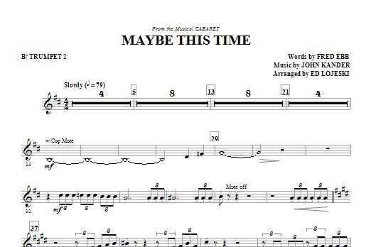 Maybe This Time - Trumpet 2 (Choir Instrumental Pak)