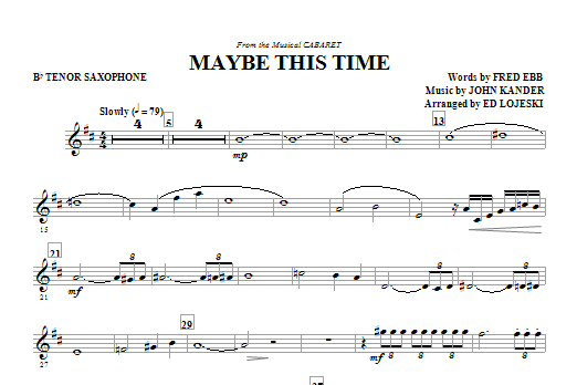 Maybe This Time - Tenor Sax (Choir Instrumental Pak)