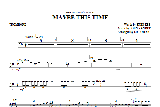 Maybe This Time - Trombone (Choir Instrumental Pak)