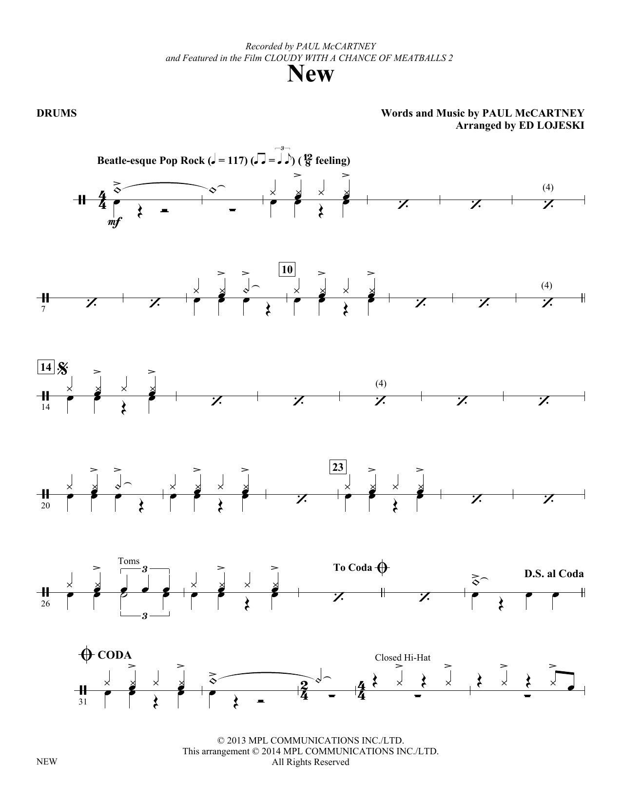 New - Drums (Choir Instrumental Pak)