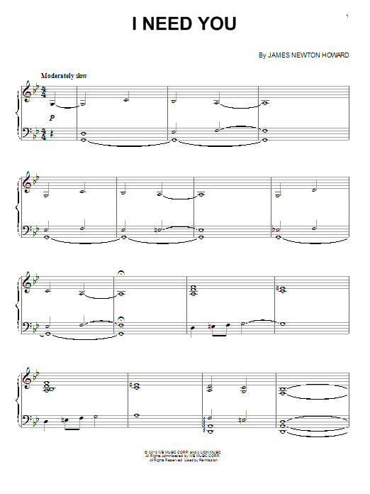 I Need You Sheet Music