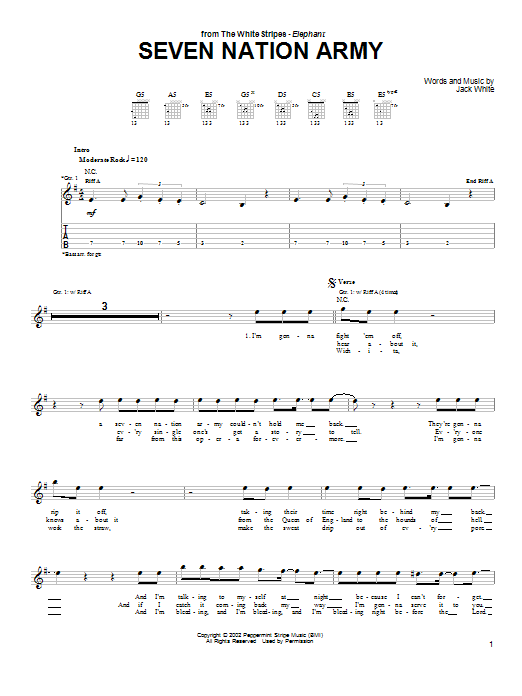 white stripes seven nation army guitar tab pdf