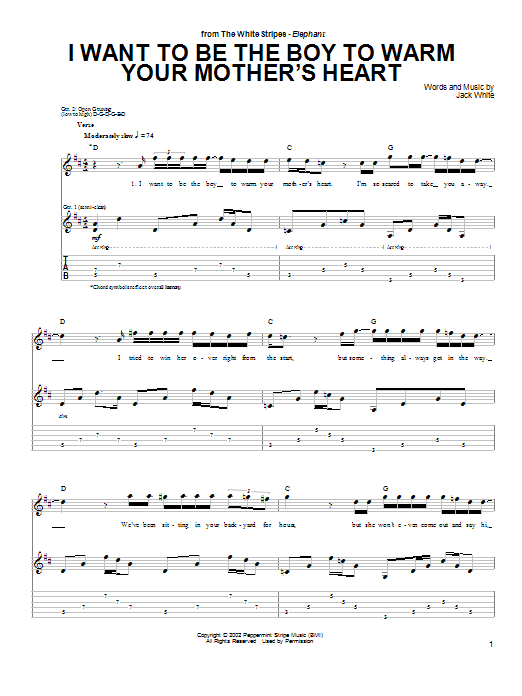 I Want To Be The Boy To Warm Your Mother's Heart (Guitar Tab)