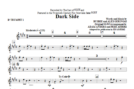 Dark Side (complete set of parts) sheet music for orchestra/band by Ed Lojeski, Glee Cast and Kelly Clarkson. Score Image Preview.