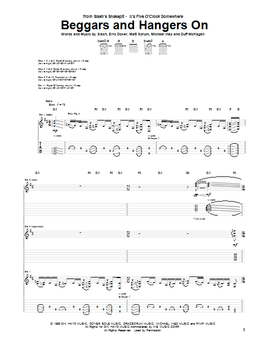 Beggars And Hangers On (Guitar Tab)