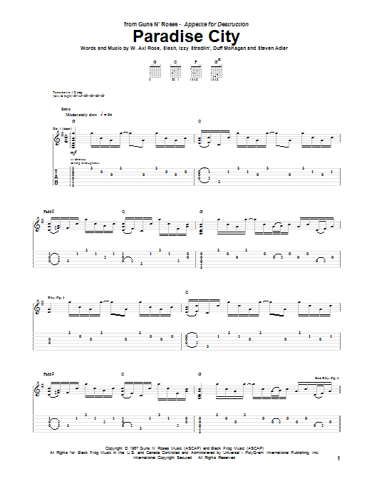 Tablature guitare Paradise City de Guns N' Roses - Tablature Guitare