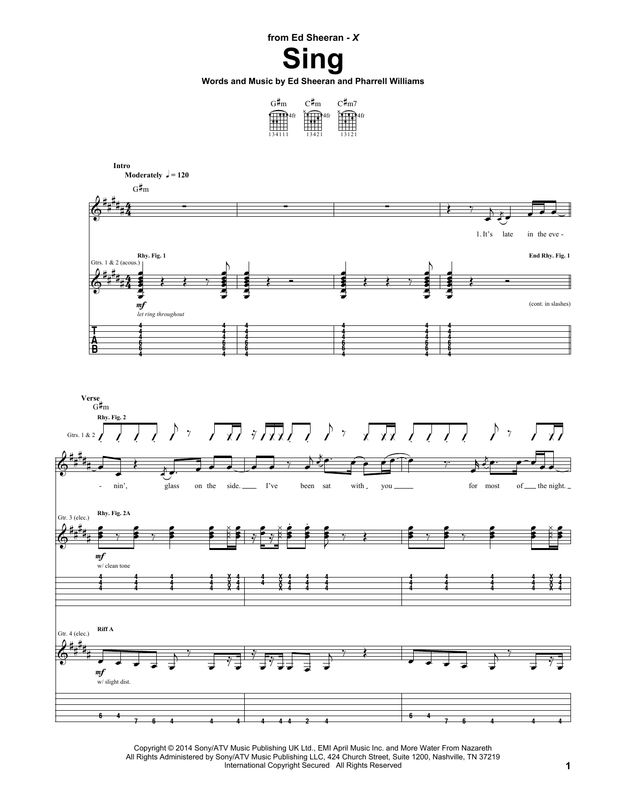 Sing Tablature Guitare par Ed Sheeran (Tablature Guitare