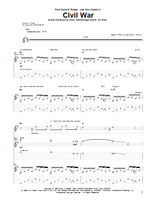 Tablature guitare Civil War de Guns N' Roses - Tablature Guitare