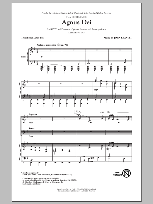 Agnus Dei (from Petite Mass) (SATB Choir)