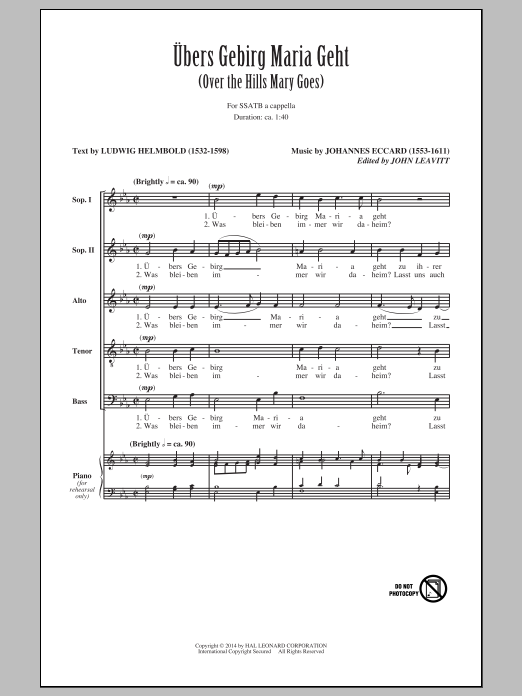 Ubers Gebirg Maria Geht (Over The Hills Mary Goes) Sheet Music
