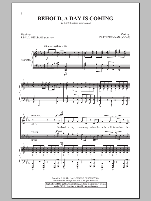 Partition chorale Behold, A Day Is Coming de Patti Drennan - SATB