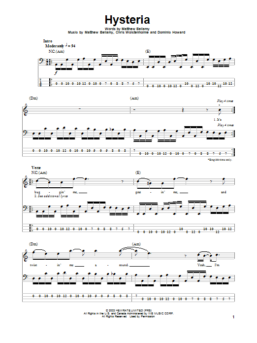 Tablature guitare Hysteria de Muse - Tablature Basse