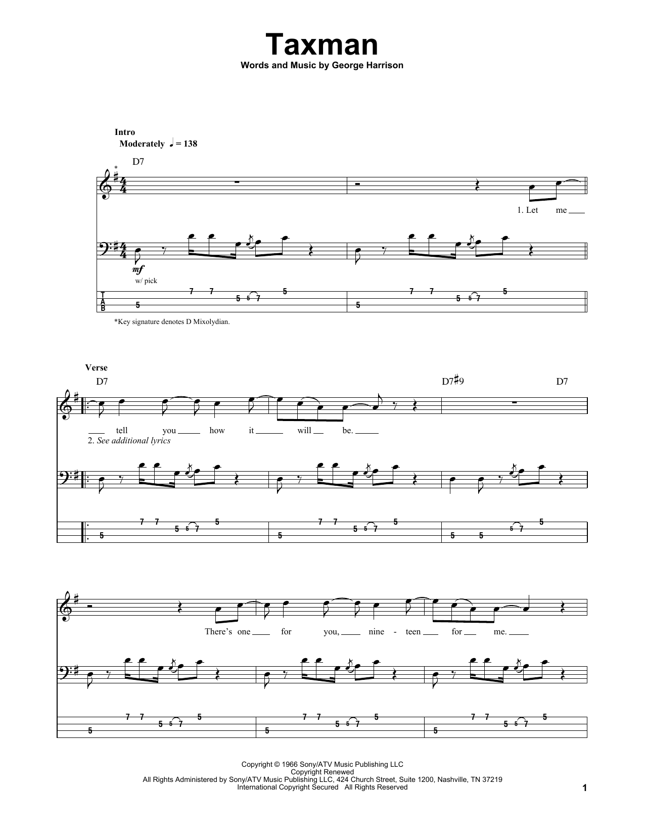 Tablature guitare Taxman de The Beatles - Tablature Basse