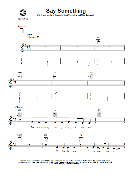Say Something Sheet Music A Great Big World Ukulele