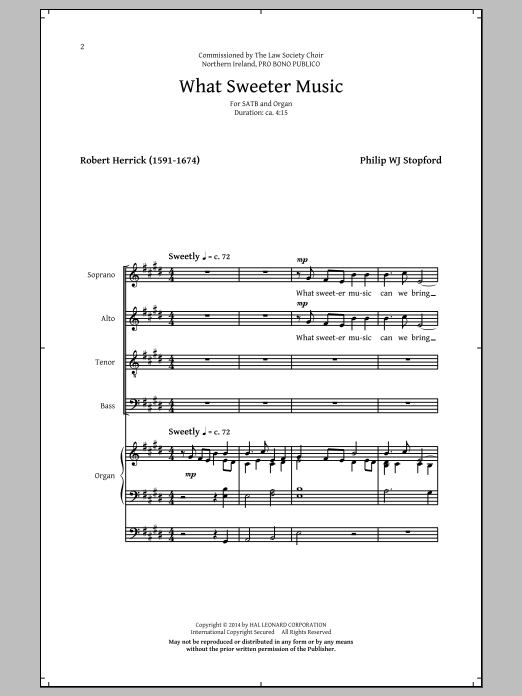 Partition chorale What Sweeter Music de Philip Stopford - SATB