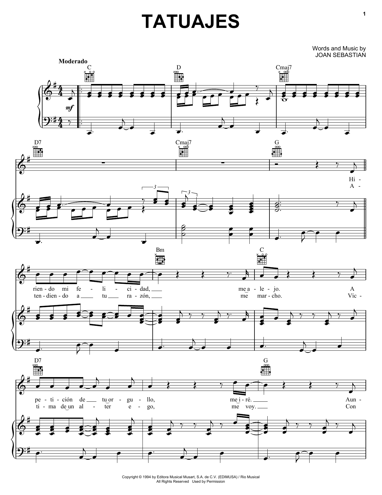 Tatuajes (Piano, Vocal & Guitar (Right-Hand Melody))