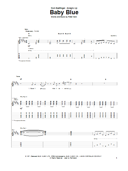 Tablature guitare Baby Blue de Badfinger - Tablature Guitare