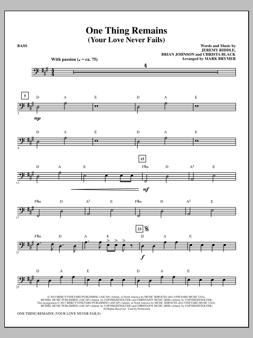 One Thing Remains (Your Love Never Fails) - Bass Sheet Music