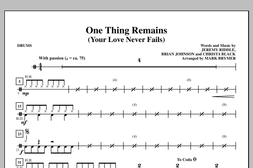 One Thing Remains (Your Love Never Fails) - Drums Sheet Music