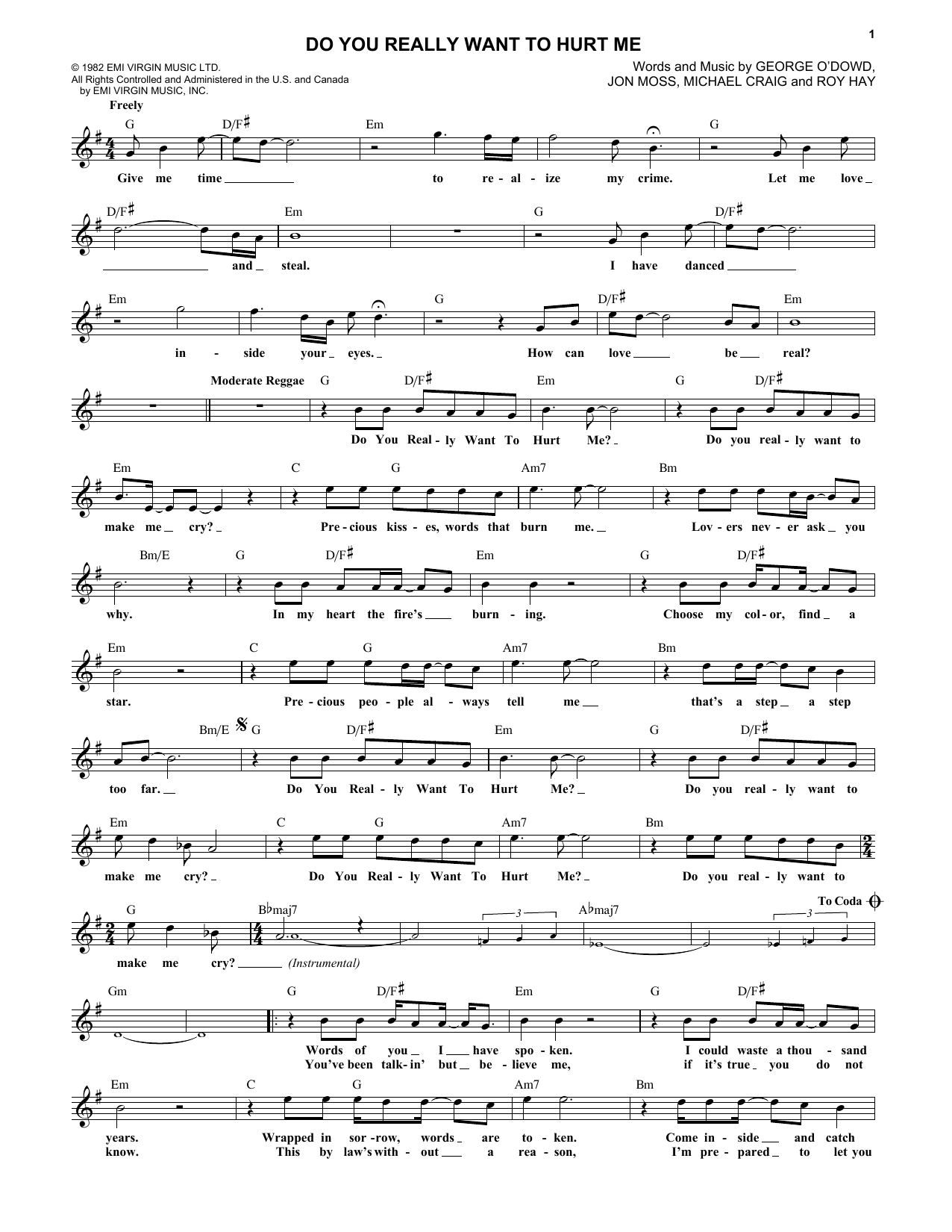 Do You Really Want To Hurt Me (Lead Sheet / Fake Book)