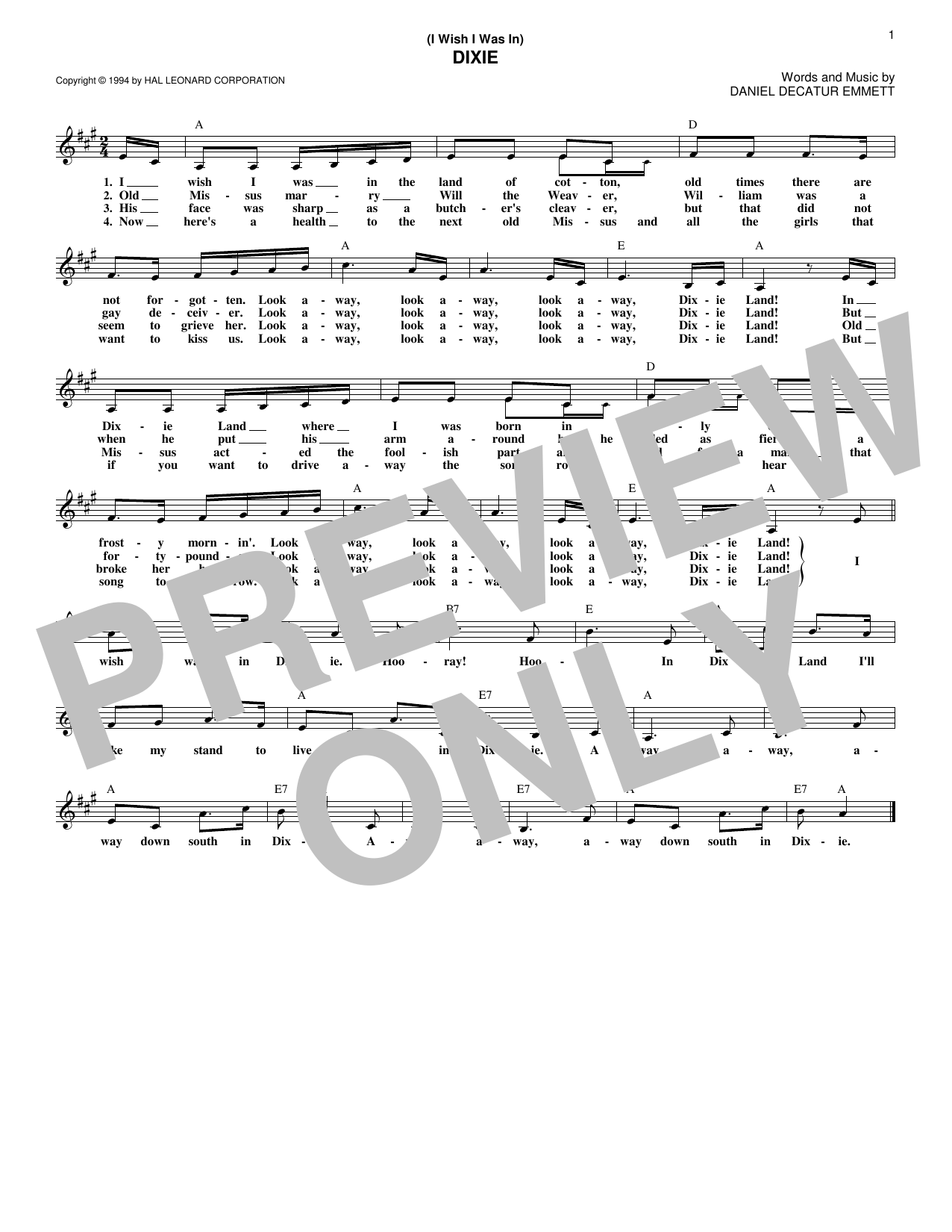 (I Wish I Was In) Dixie (Lead Sheet / Fake Book)