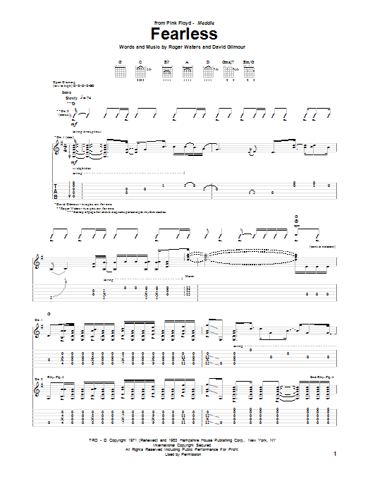 Tablature guitare Fearless de Pink Floyd - Tablature Guitare