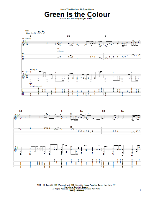 Green Is The Colour (Guitar Tab)